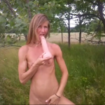 Blondie filmed playing with dildo outdoor